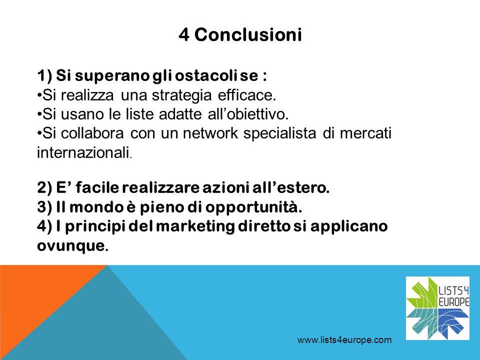 4 Conclusioni www.lists4europe.com 1) Si superano gli ostacoli se : Si realizza una strategia efficace.