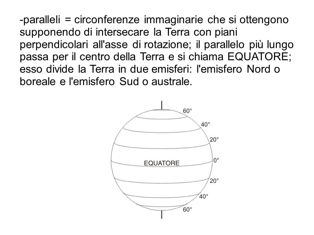 -paralleli = circonferenze immaginarie che si ottengono supponendo di intersecare la Terra con piani perpendicolari all'asse di rotazione; il parallel