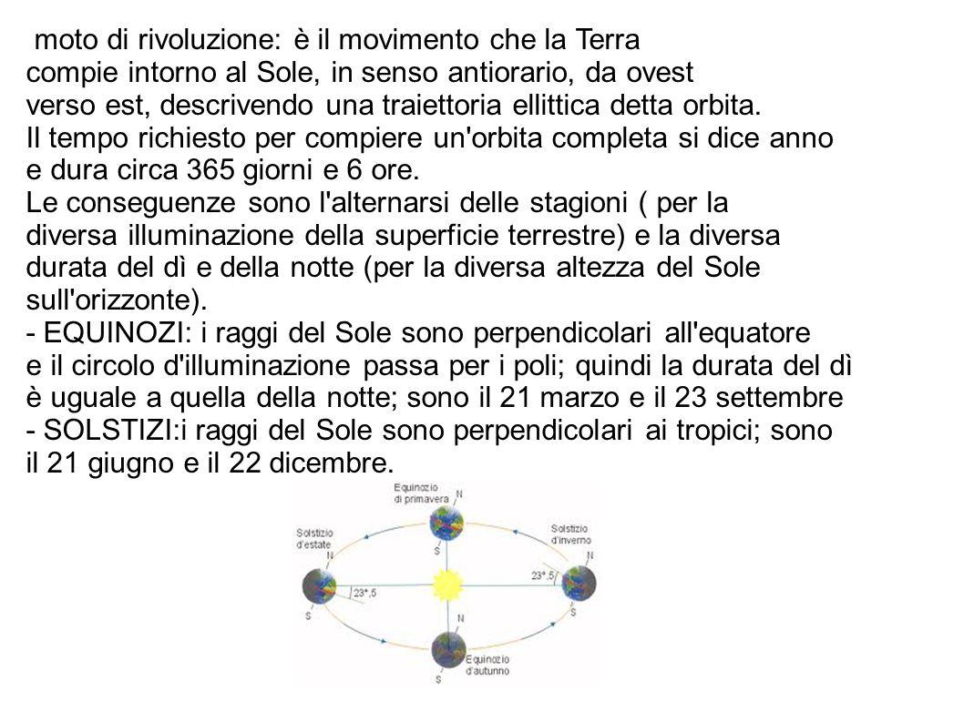 moto di rivoluzione: è il movimento che la Terra compie intorno al Sole, in senso antiorario, da ovest verso est, descrivendo una traiettoria ellittic