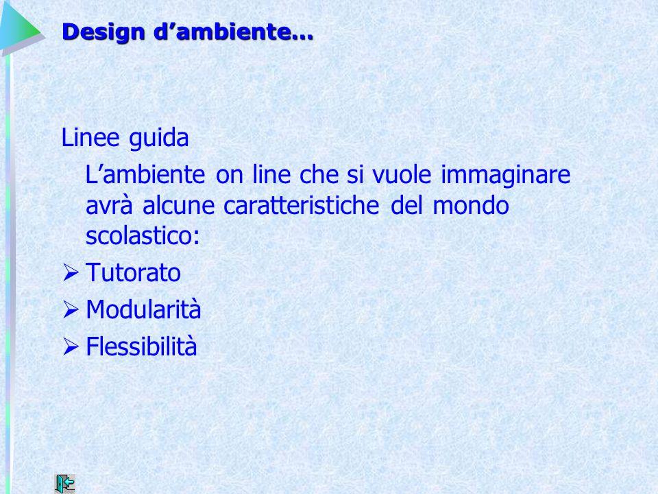Design d'ambiente… Linee guida L'ambiente on line che si vuole immaginare avrà alcune caratteristiche del mondo scolastico:  Tutorato  Modularità 