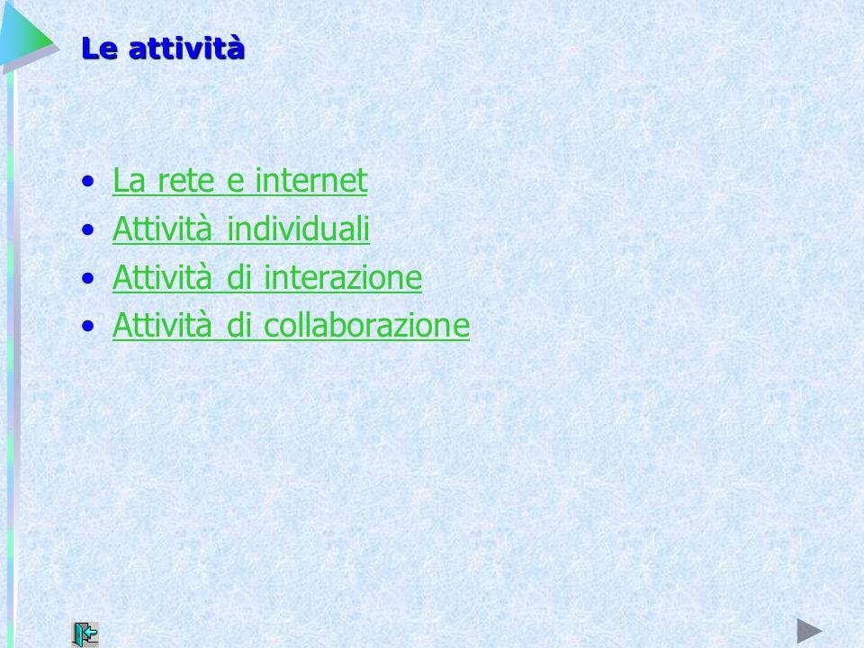 Le attività La rete e internet Attività individuali Attività di interazione Attività di collaborazione