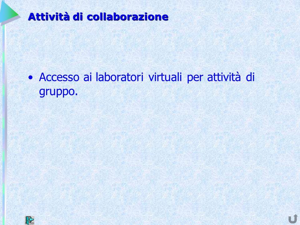 Attività di collaborazione Accesso ai laboratori virtuali per attività di gruppo.