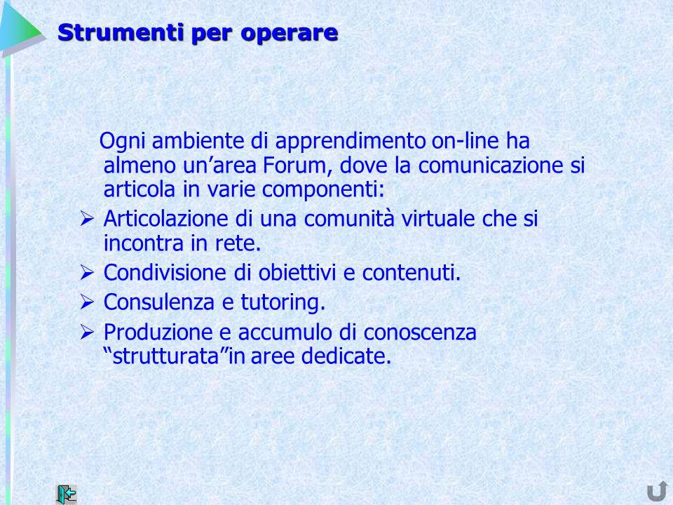 Strumenti per operare Ogni ambiente di apprendimento on-line ha almeno un'area Forum, dove la comunicazione si articola in varie componenti:  Articol