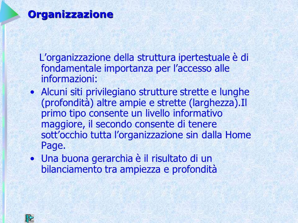 Organizzazione L'organizzazione della struttura ipertestuale è di fondamentale importanza per l'accesso alle informazioni: Alcuni siti privilegiano st
