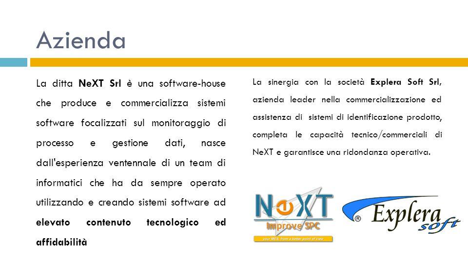 Azienda La ditta NeXT Srl è una software-house che produce e commercializza sistemi software focalizzati sul monitoraggio di processo e gestione dati,