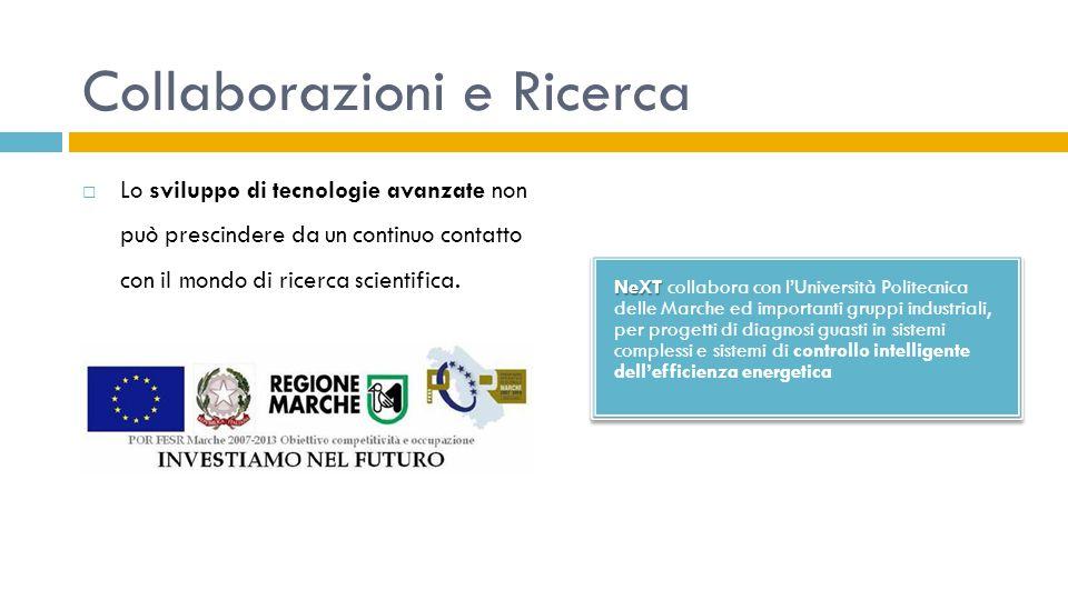 Collaborazioni e Ricerca  Lo sviluppo di tecnologie avanzate non può prescindere da un continuo contatto con il mondo di ricerca scientifica. NeXT Ne