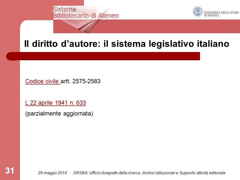 31 Il diritto d'autore: il sistema legislativo italiano Codice civile Codice civile artt.
