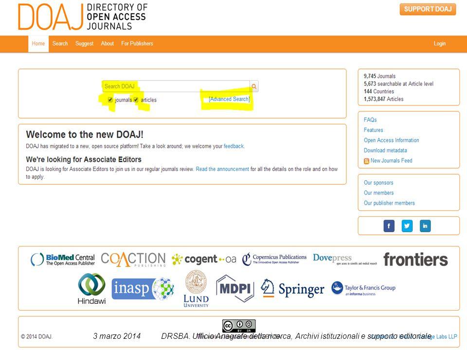 30 3 marzo 2014DRSBA. Ufficio Anagrafe della ricerca, Archivi istituzionali e supporto editoriale