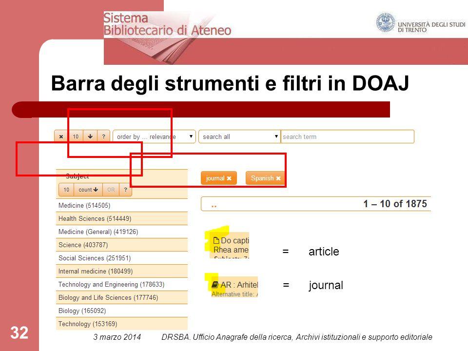 32 Barra degli strumenti e filtri in DOAJ = article = journal 3 marzo 2014DRSBA.