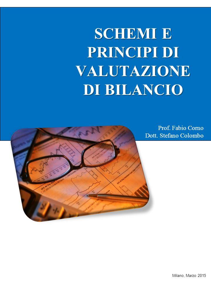 SCHEMI E PRINCIPI DI VALUTAZIONE DI BILANCIO DI BILANCIO Prof. Fabio Corno Dott. Stefano Colombo Milano, Marzo 2015