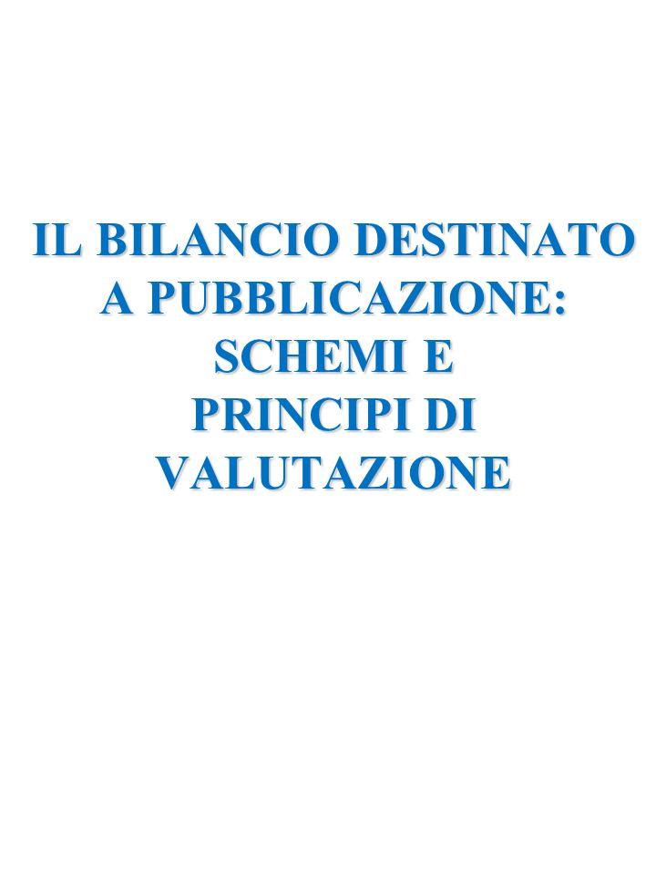 IL BILANCIO DESTINATO A PUBBLICAZIONE: SCHEMI E PRINCIPI DI VALUTAZIONE