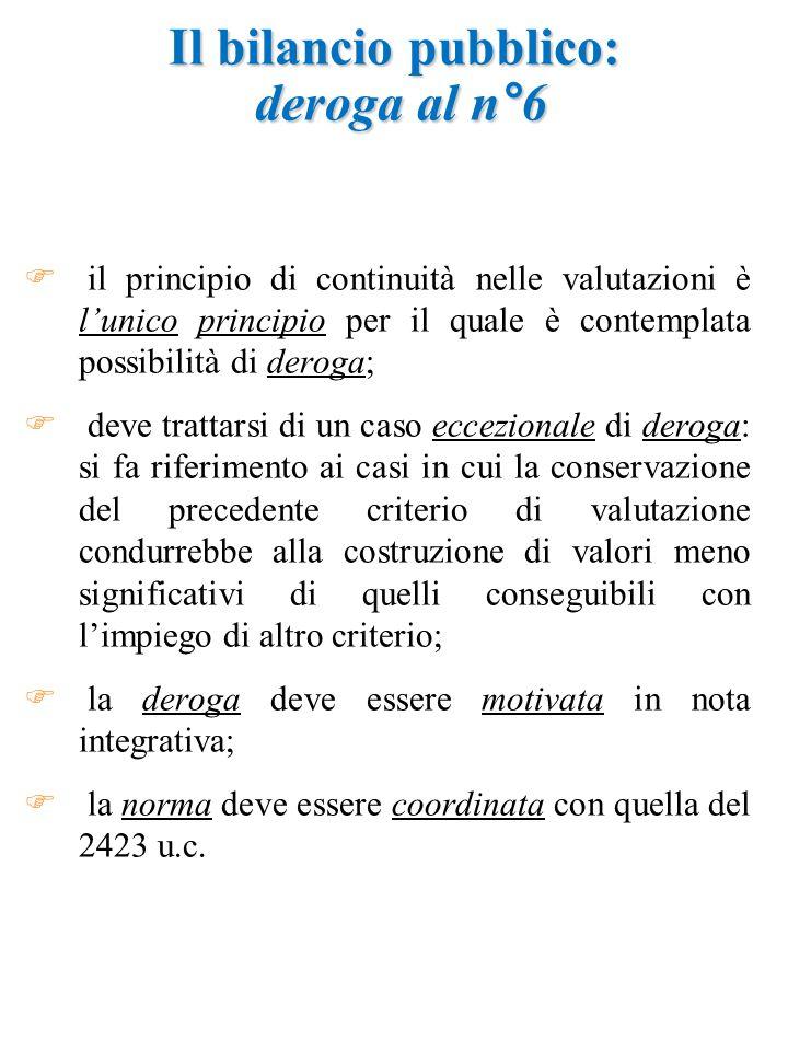 Il bilancio pubblico: deroga al n°6  il principio di continuità nelle valutazioni è l'unico principio per il quale è contemplata possibilità di deroga;  deve trattarsi di un caso eccezionale di deroga: si fa riferimento ai casi in cui la conservazione del precedente criterio di valutazione condurrebbe alla costruzione di valori meno significativi di quelli conseguibili con l'impiego di altro criterio;  la deroga deve essere motivata in nota integrativa;  la norma deve essere coordinata con quella del 2423 u.c.