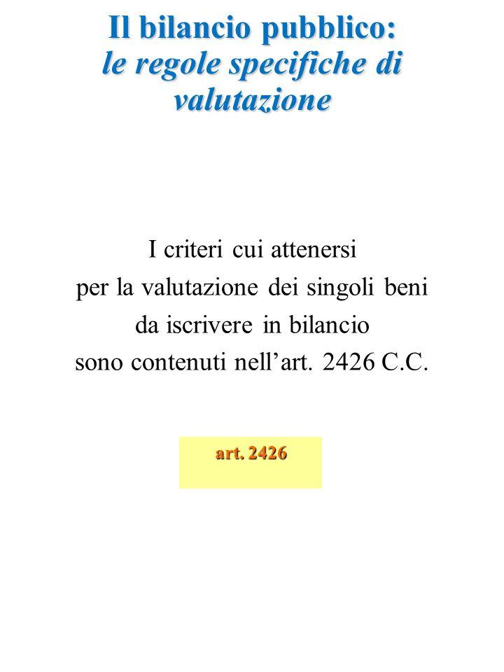 I criteri cui attenersi per la valutazione dei singoli beni da iscrivere in bilancio sono contenuti nell'art. 2426 C.C. Il bilancio pubblico: le regol