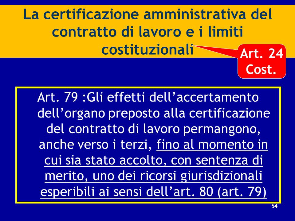 Procedimento di certificazione e sua natura giuridica (art. 78) a)Istanza volontaria di entrambe le parti del contratto di lavoro; b)Certificazione da