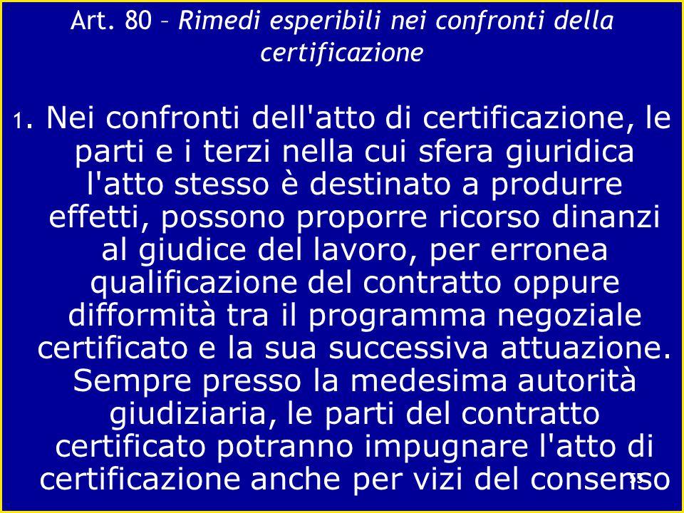 La certificazione amministrativa del contratto di lavoro e i limiti costituzionali Art. 79 :Gli effetti dell'accertamento dell'organo preposto alla ce