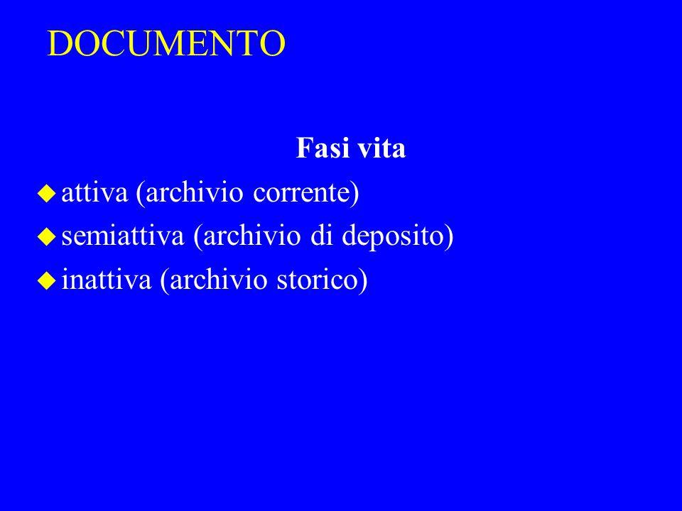 DOCUMENTO Fasi vita u attiva (archivio corrente) u semiattiva (archivio di deposito) u inattiva (archivio storico)