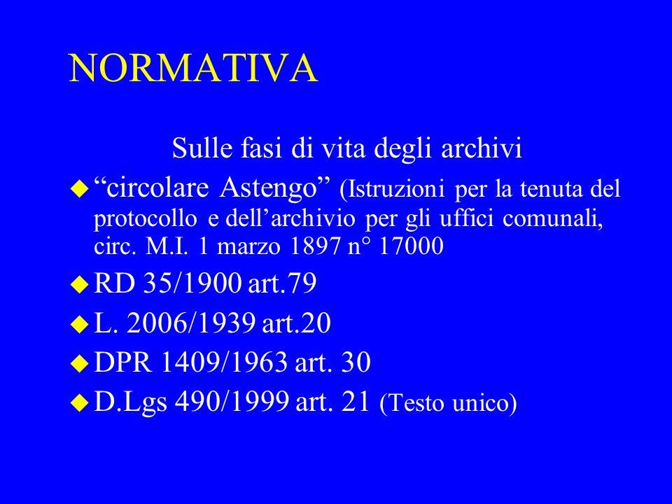 """NORMATIVA Sulle fasi di vita degli archivi u """"circolare Astengo"""" (Istruzioni per la tenuta del protocollo e dell'archivio per gli uffici comunali, cir"""