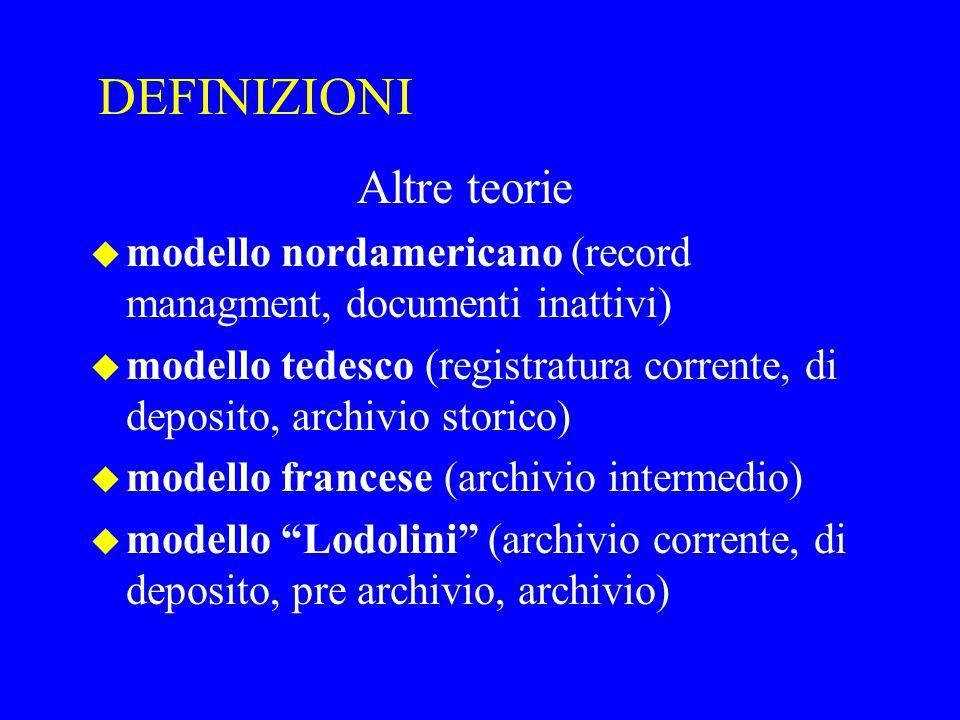 DEFINIZIONI Altre teorie u modello nordamericano (record managment, documenti inattivi) u modello tedesco (registratura corrente, di deposito, archivi