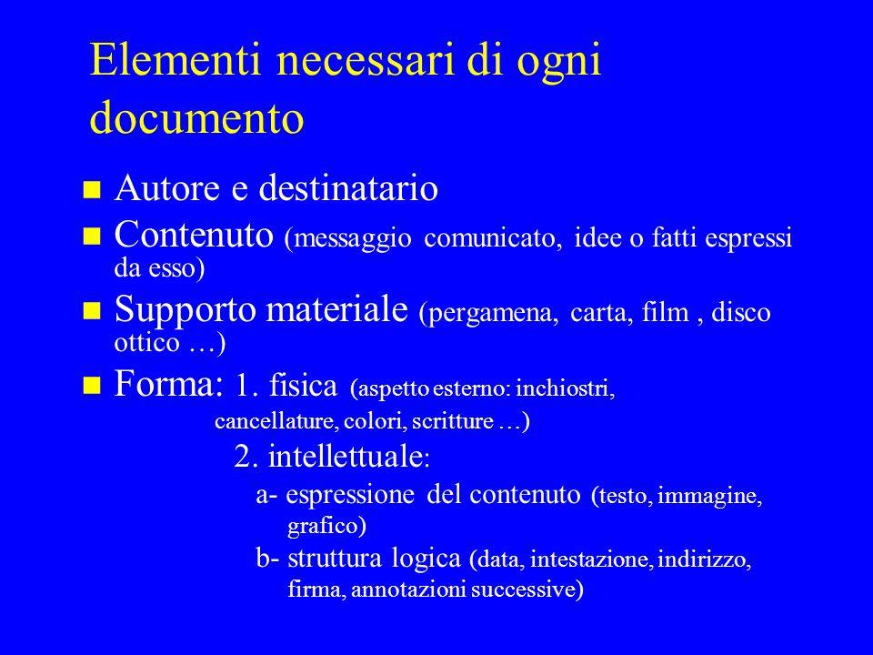 Elementi necessari di ogni documento n Autore e destinatario n Contenuto (messaggio comunicato, idee o fatti espressi da esso) n Supporto materiale (p