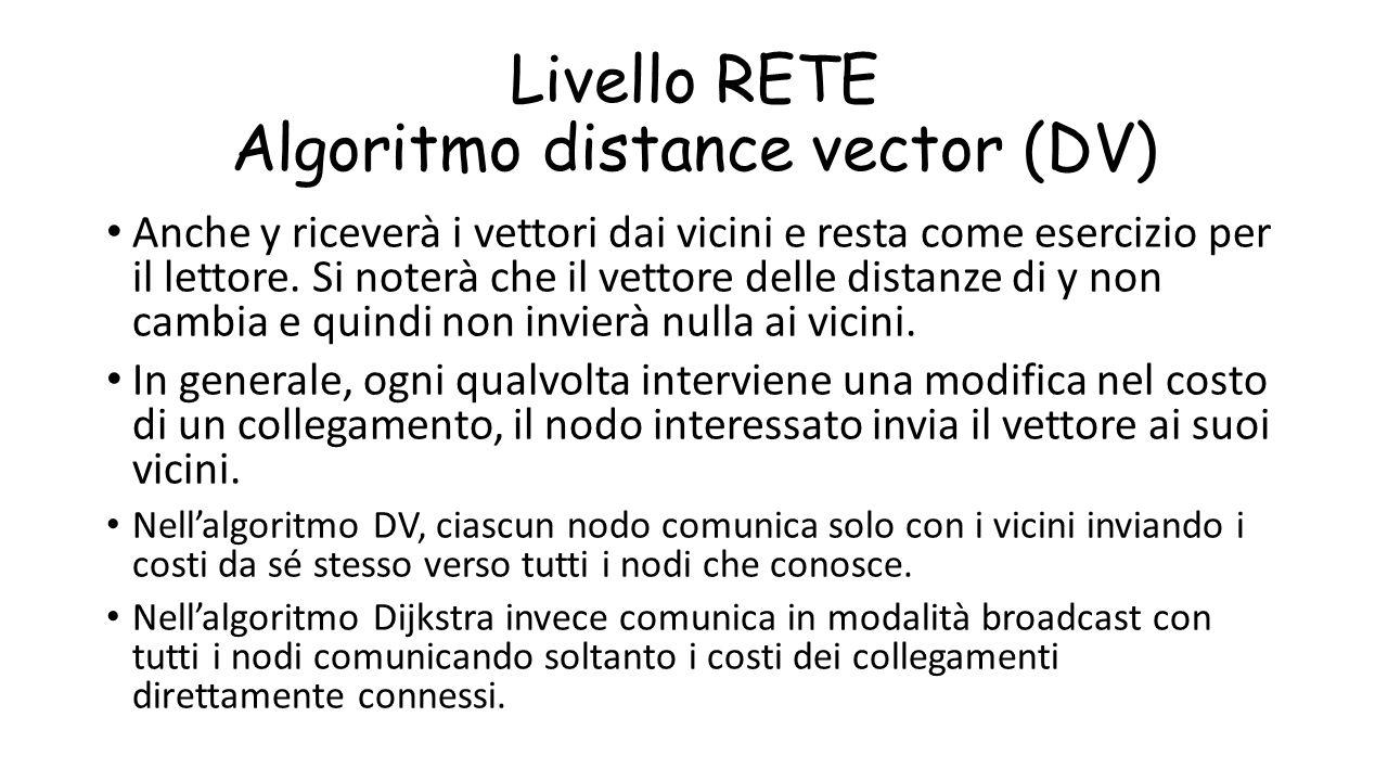 Livello RETE Algoritmo distance vector (DV) Anche y riceverà i vettori dai vicini e resta come esercizio per il lettore. Si noterà che il vettore dell