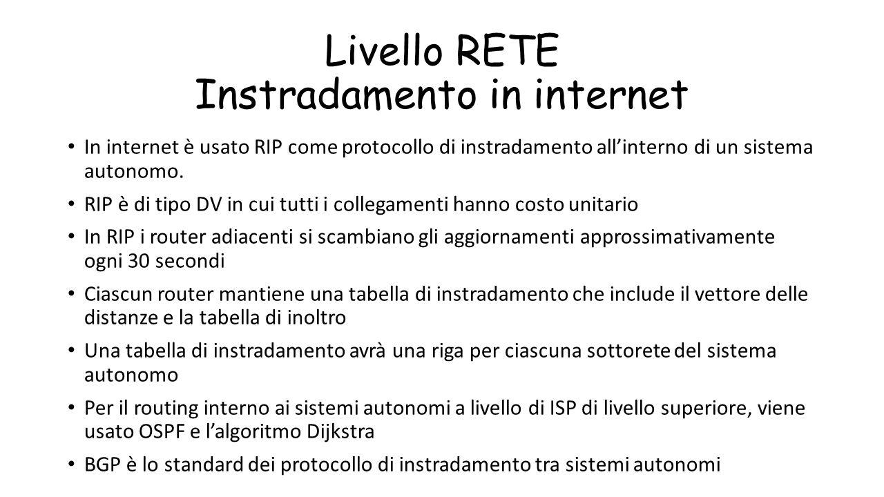 Livello RETE Instradamento in internet In internet è usato RIP come protocollo di instradamento all'interno di un sistema autonomo. RIP è di tipo DV i