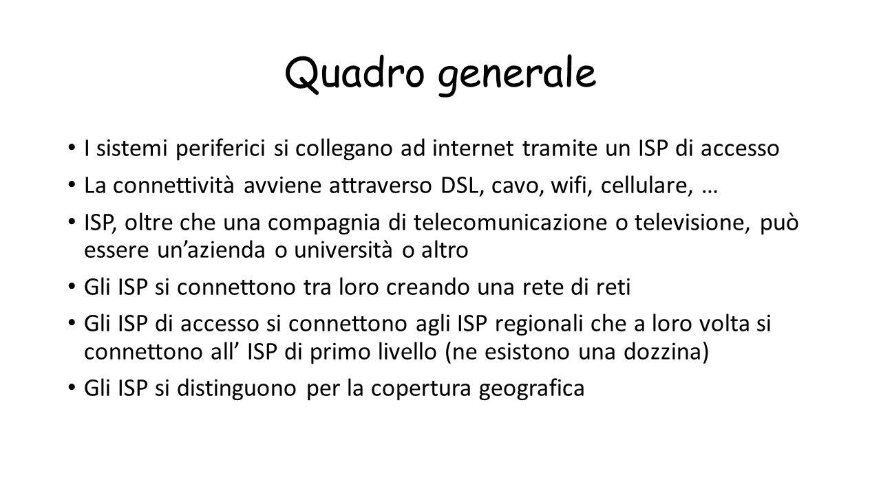Quadro generale I sistemi periferici si collegano ad internet tramite un ISP di accesso La connettività avviene attraverso DSL, cavo, wifi, cellulare,