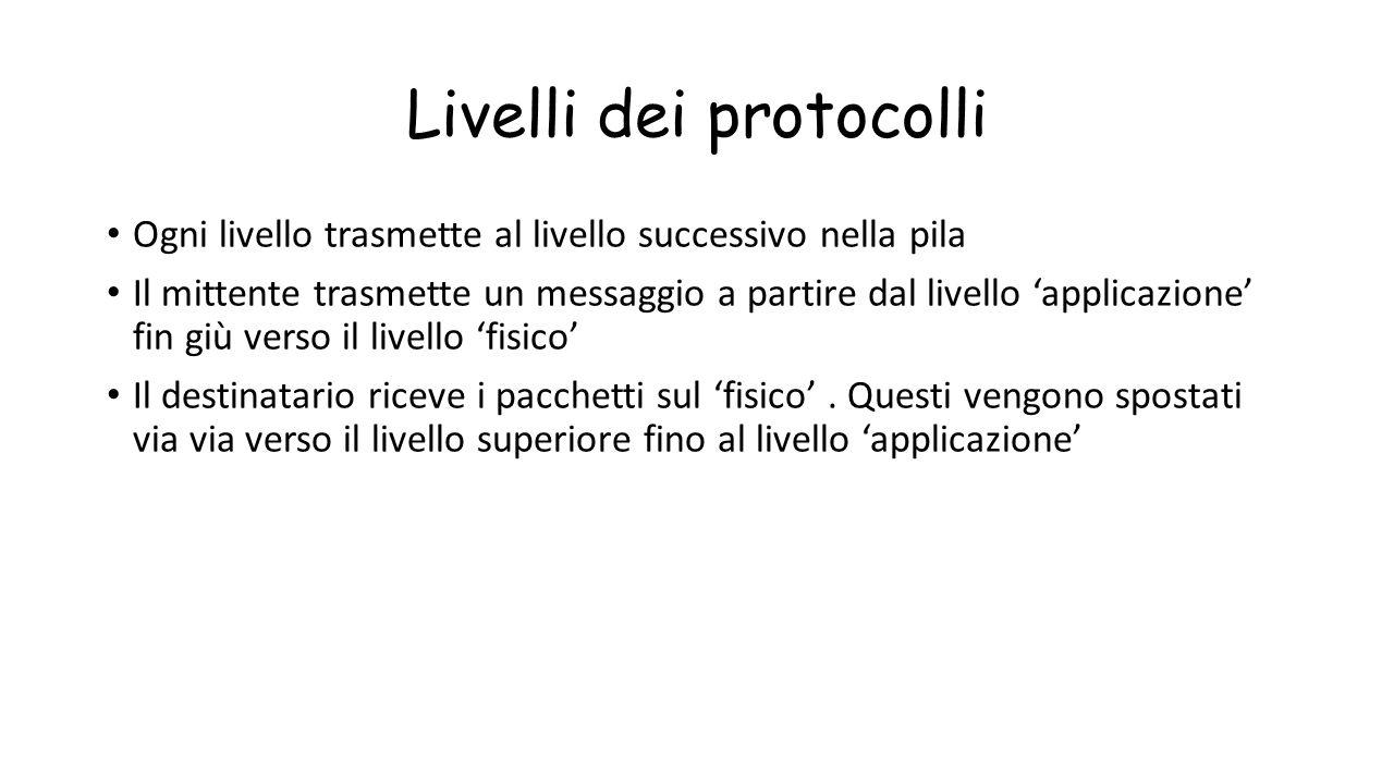 Livelli dei protocolli Ogni livello trasmette al livello successivo nella pila Il mittente trasmette un messaggio a partire dal livello 'applicazione'