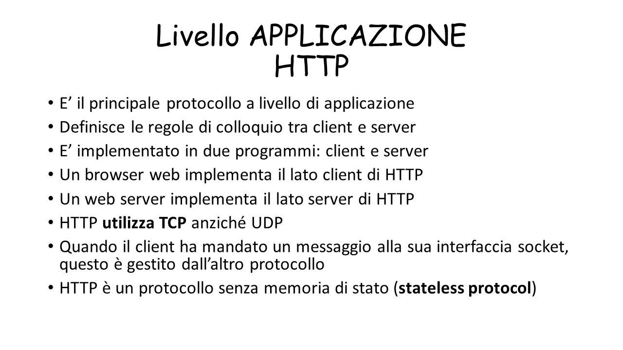 Livello APPLICAZIONE HTTP E' il principale protocollo a livello di applicazione Definisce le regole di colloquio tra client e server E' implementato i