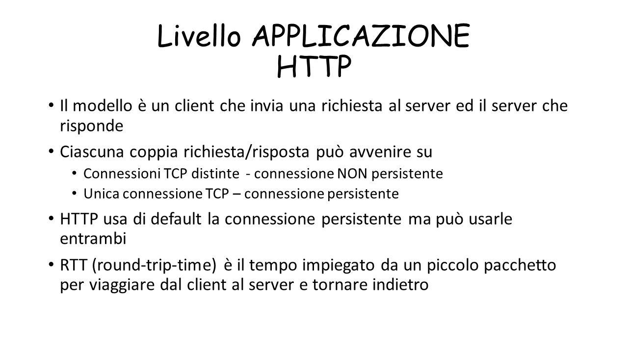 Livello APPLICAZIONE HTTP Il modello è un client che invia una richiesta al server ed il server che risponde Ciascuna coppia richiesta/risposta può av