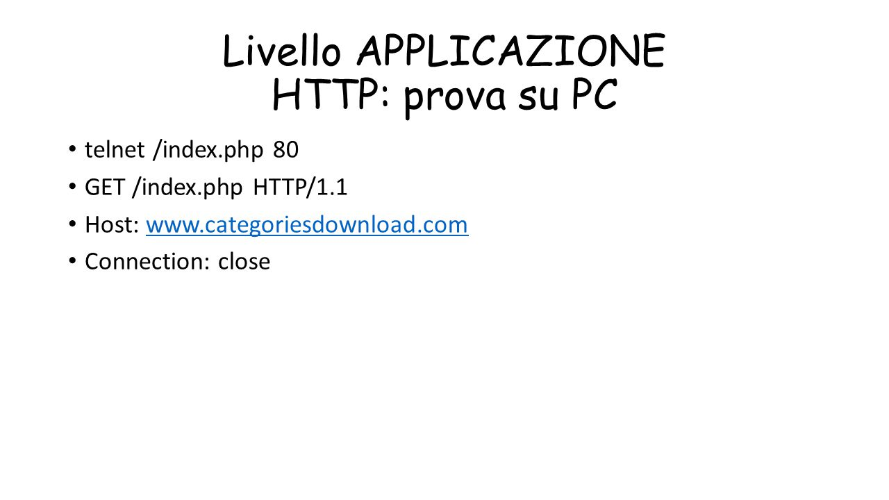 Livello APPLICAZIONE HTTP: prova su PC telnet /index.php 80 GET /index.php HTTP/1.1 Host: www.categoriesdownload.comwww.categoriesdownload.com Connect