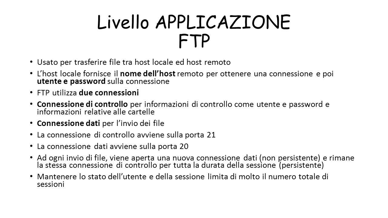 Livello APPLICAZIONE FTP Usato per trasferire file tra host locale ed host remoto L'host locale fornisce il nome dell'host remoto per ottenere una con
