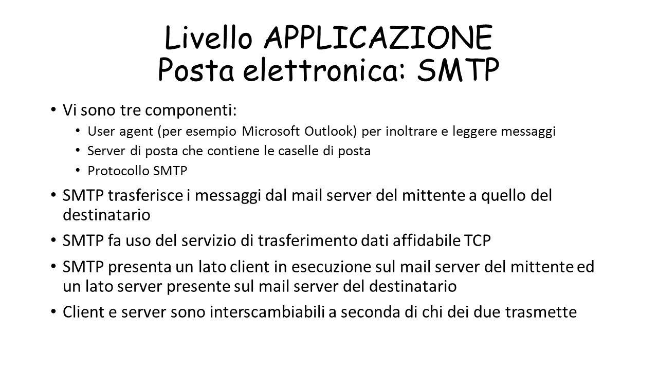 Livello APPLICAZIONE Posta elettronica: SMTP Vi sono tre componenti: User agent (per esempio Microsoft Outlook) per inoltrare e leggere messaggi Serve