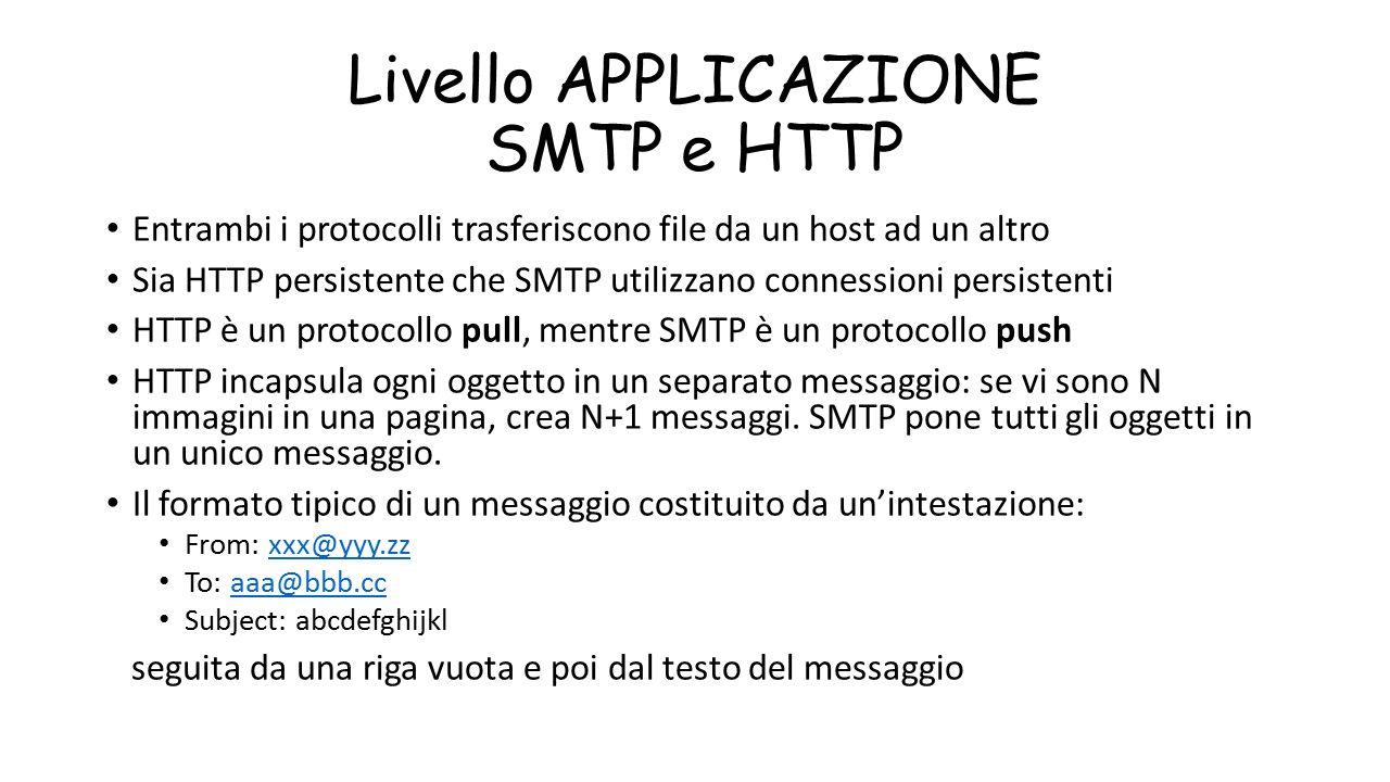 Livello APPLICAZIONE SMTP e HTTP Entrambi i protocolli trasferiscono file da un host ad un altro Sia HTTP persistente che SMTP utilizzano connessioni