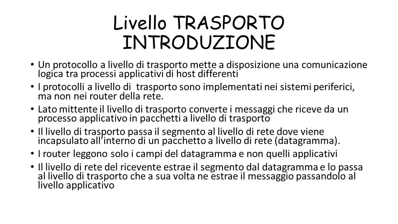 Livello TRASPORTO INTRODUZIONE Un protocollo a livello di trasporto mette a disposizione una comunicazione logica tra processi applicativi di host dif