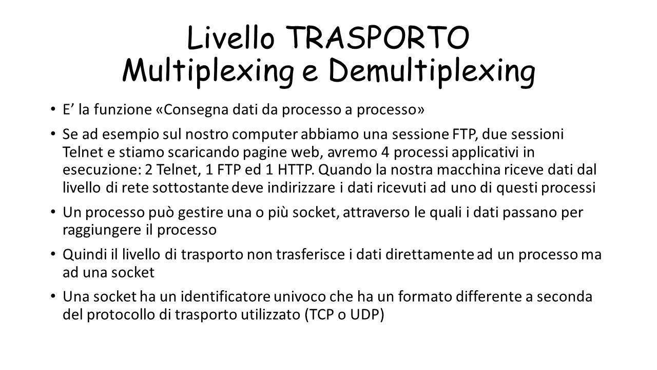 Livello TRASPORTO Multiplexing e Demultiplexing E' la funzione «Consegna dati da processo a processo» Se ad esempio sul nostro computer abbiamo una se