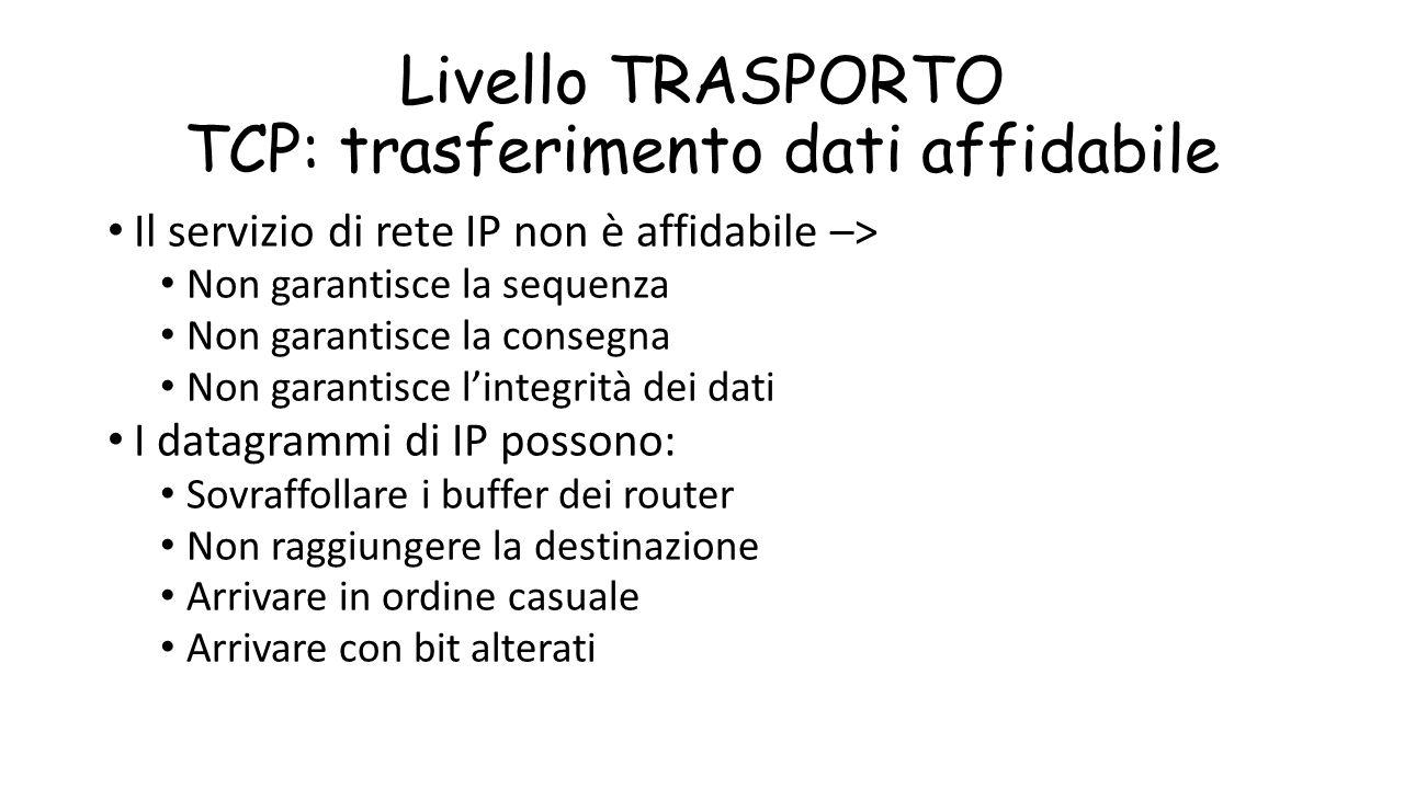 Livello TRASPORTO TCP: trasferimento dati affidabile Il servizio di rete IP non è affidabile –> Non garantisce la sequenza Non garantisce la consegna