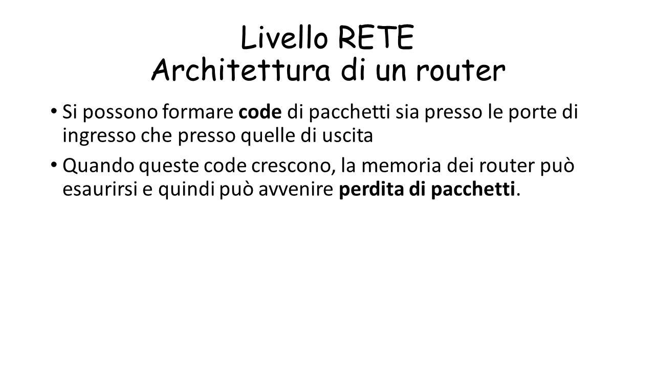 Livello RETE Architettura di un router Si possono formare code di pacchetti sia presso le porte di ingresso che presso quelle di uscita Quando queste
