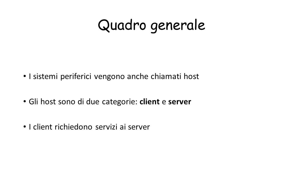 Quadro generale I sistemi periferici vengono anche chiamati host Gli host sono di due categorie: client e server I client richiedono servizi ai server