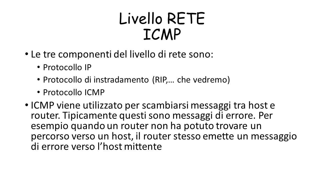 Livello RETE ICMP Le tre componenti del livello di rete sono: Protocollo IP Protocollo di instradamento (RIP,… che vedremo) Protocollo ICMP ICMP viene
