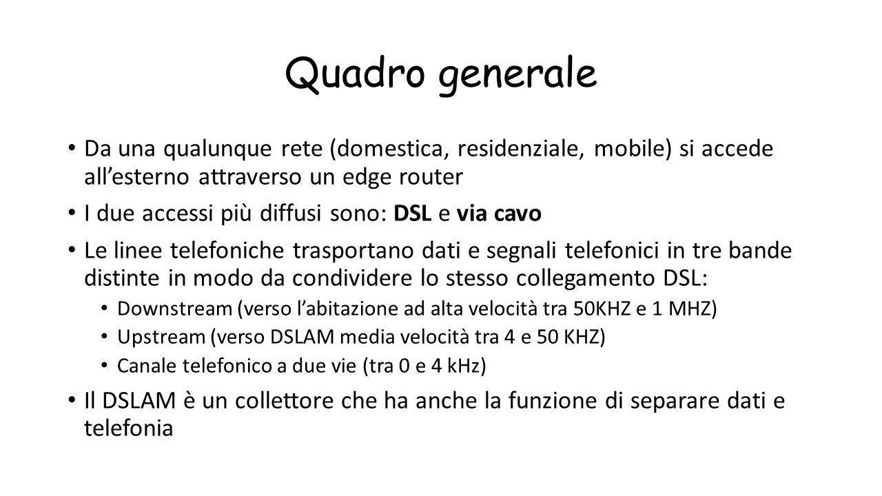 Quadro generale Da una qualunque rete (domestica, residenziale, mobile) si accede all'esterno attraverso un edge router I due accessi più diffusi sono