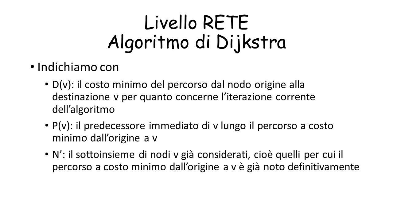 Livello RETE Algoritmo di Dijkstra Indichiamo con D(v): il costo minimo del percorso dal nodo origine alla destinazione v per quanto concerne l'iteraz