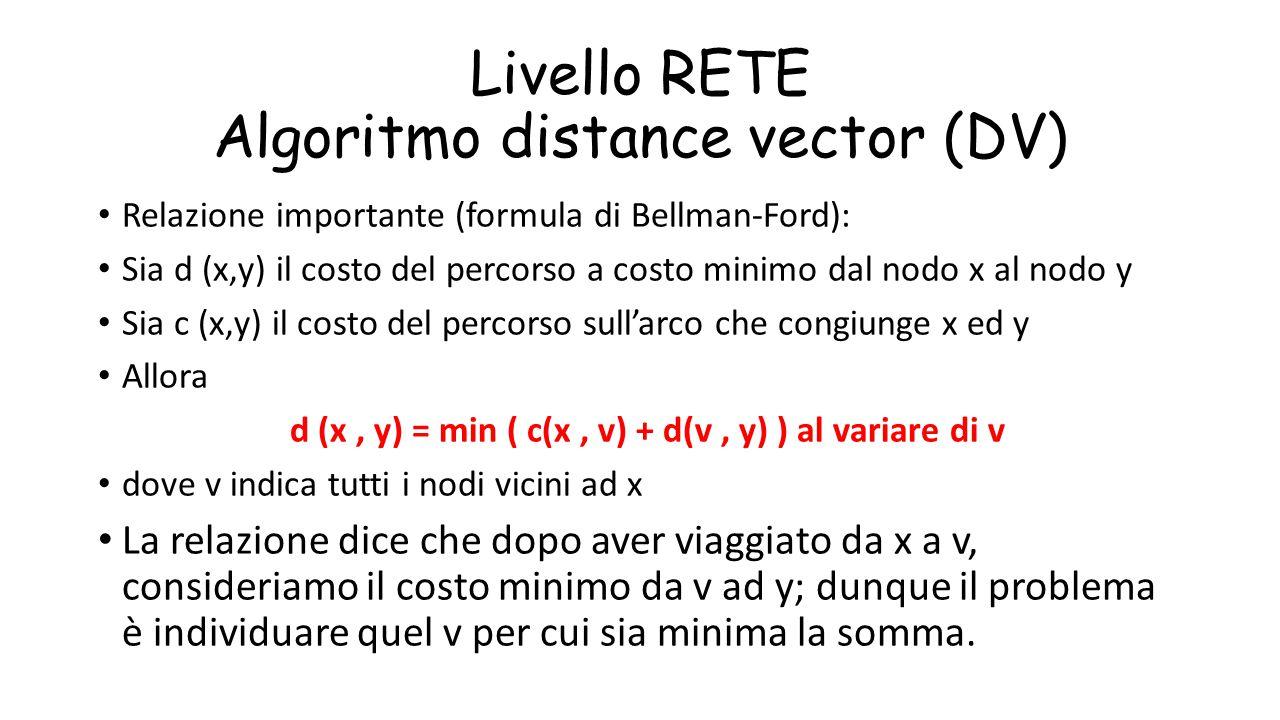 Livello RETE Algoritmo distance vector (DV) Relazione importante (formula di Bellman-Ford): Sia d (x,y) il costo del percorso a costo minimo dal nodo
