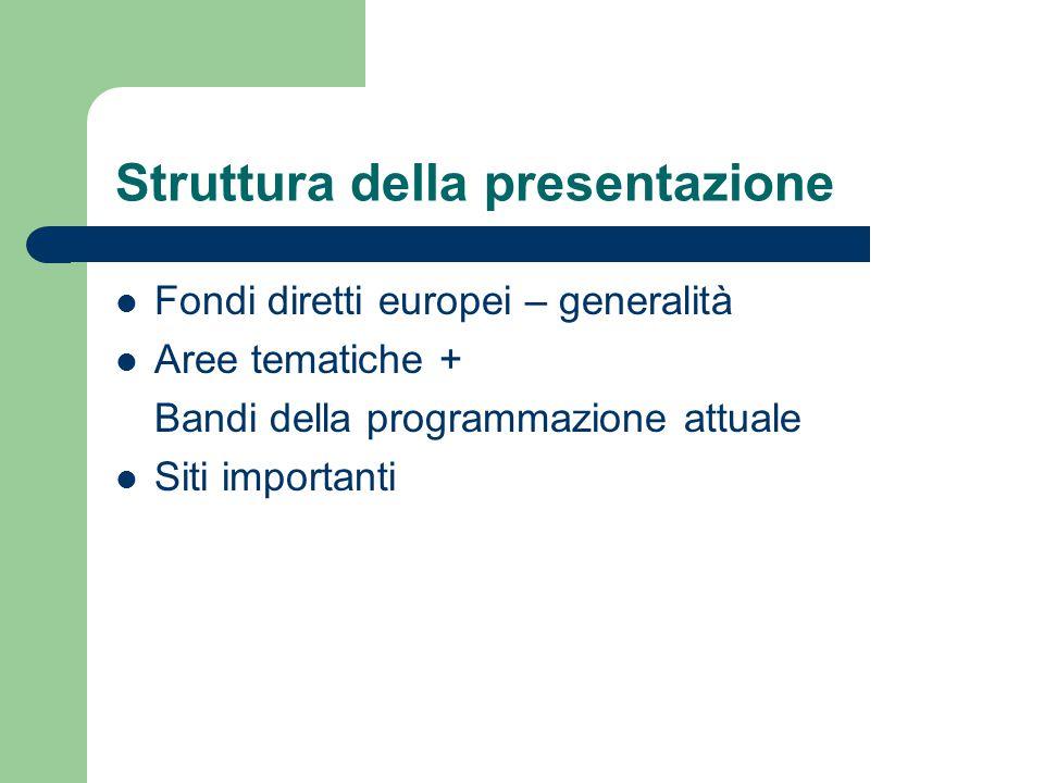 Struttura della presentazione Fondi diretti europei – generalità Aree tematiche + Bandi della programmazione attuale Siti importanti