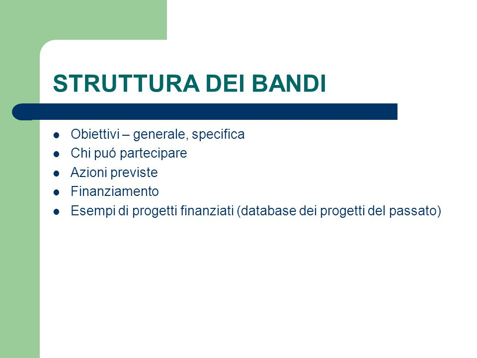 STRUTTURA DEI BANDI Obiettivi – generale, specifica Chi puó partecipare Azioni previste Finanziamento Esempi di progetti finanziati (database dei progetti del passato)