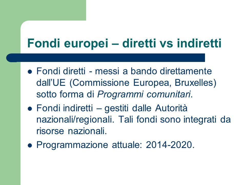 Fondi europei – diretti vs indiretti Fondi diretti - messi a bando direttamente dall'UE (Commissione Europea, Bruxelles) sotto forma di Programmi comu
