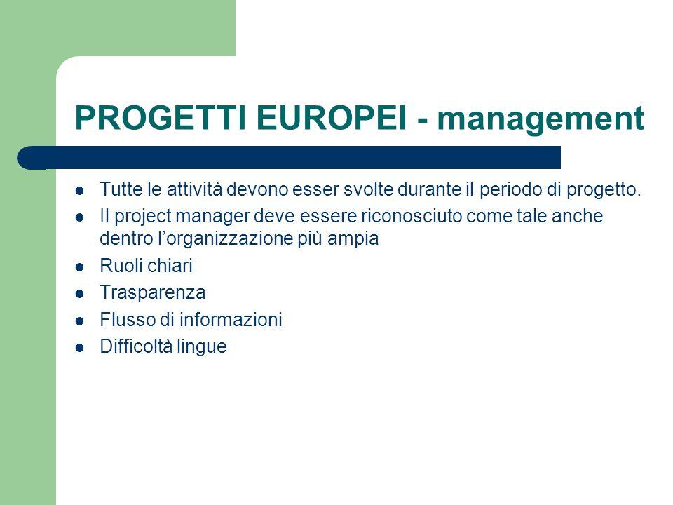 PROGETTI EUROPEI - management Tutte le attività devono esser svolte durante il periodo di progetto. Il project manager deve essere riconosciuto come t