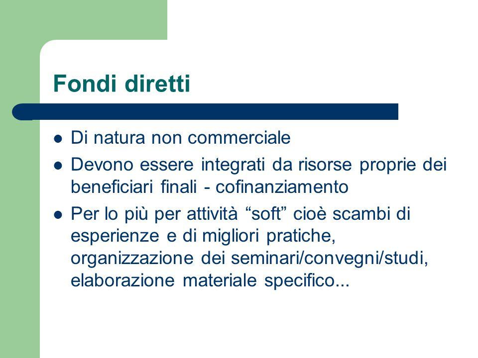 """Fondi diretti Di natura non commerciale Devono essere integrati da risorse proprie dei beneficiari finali - cofinanziamento Per lo più per attività """"s"""