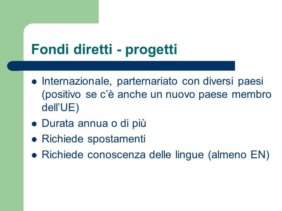 Fondi diretti - progetti Internazionale, parternariato con diversi paesi (positivo se c'è anche un nuovo paese membro dell'UE) Durata annua o di più R