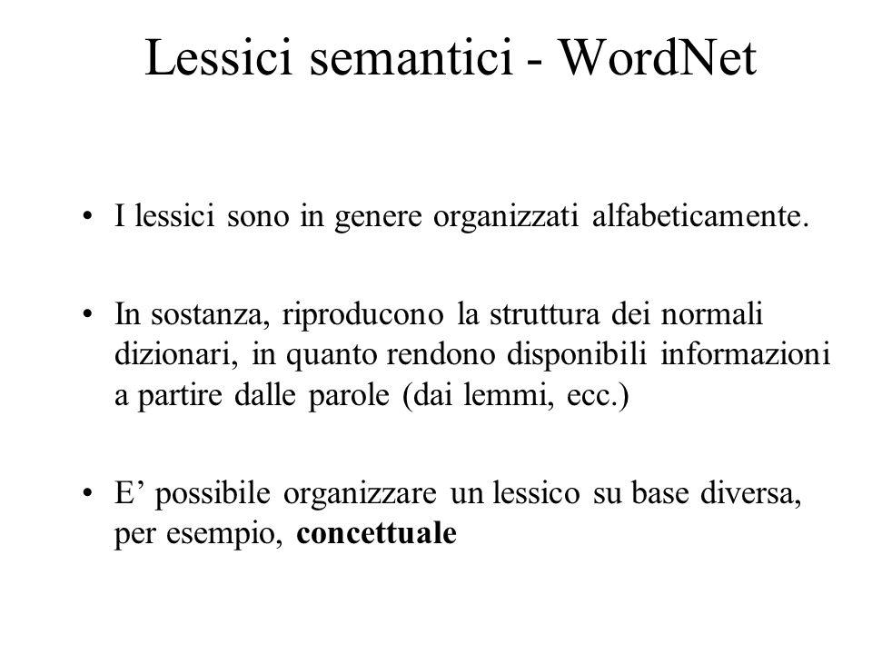 Lessici semantici - WordNet I lessici sono in genere organizzati alfabeticamente. In sostanza, riproducono la struttura dei normali dizionari, in quan