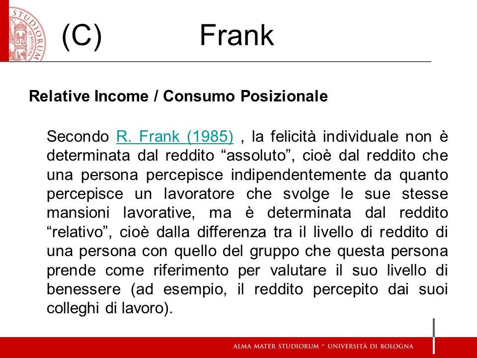 """(C) Frank Relative Income / Consumo Posizionale Secondo R. Frank (1985), la felicità individuale non è determinata dal reddito """"assoluto"""", cioè dal re"""